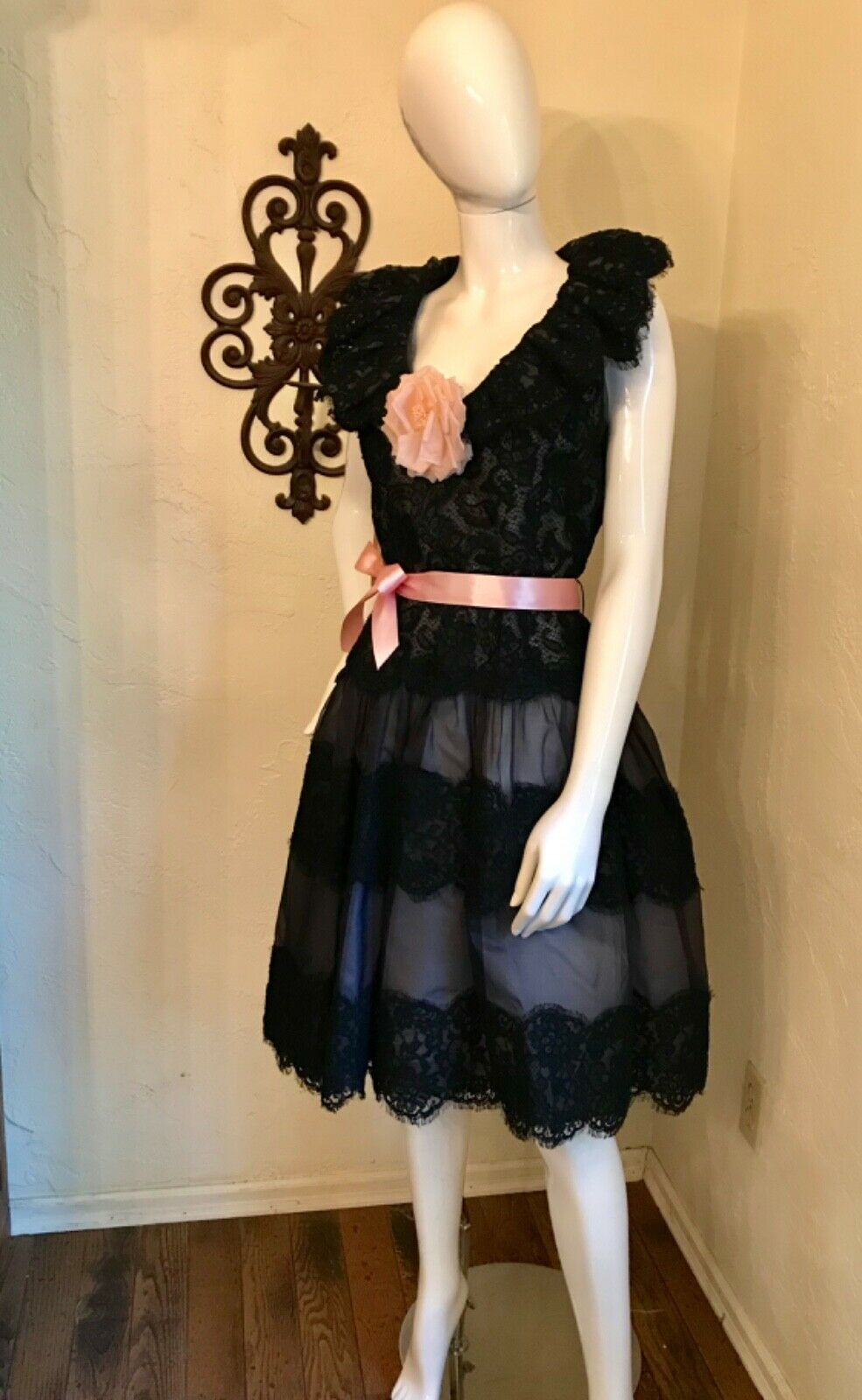 VINTAGE 1980's SCAASI BOUTIQUE Black Lace Cocktai… - image 2