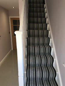 Made To Measure Carpet Runner Stair Stripe Grey Black