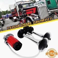 Red 12V 135DB Super-Loud Dual Air Horn Kit Trumpet Freight Train Car Truck Boat