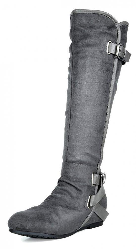 DREAM PAIRS Women's New Akris Grey Hidden Wedge Knee High Boots Size 5.5 B(M) US