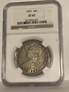 1832 Half Dollar Liberty Capped Bust Lettered Edge NGC XF45