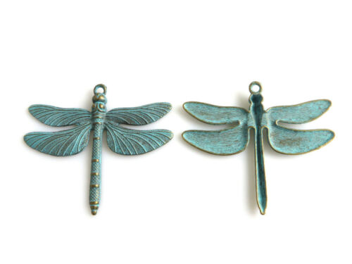 1pcs Large Verdigris Patina Dragonfly Charms Jewelry Pendants Findings 72*63mm