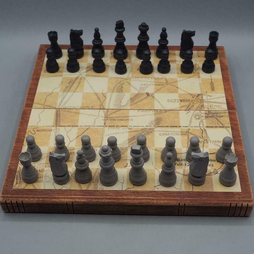 Civil War Battle of Gettysburg CSA USA Chess Set Painted Wood Pieces