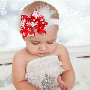 Newborns-Baby-Red-Ribbon-Bow-Hair-Band-Headband-Snowflake-Printed-Feather-Decor