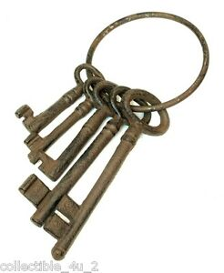 Rustic Iron Antique Style Jailer's Ship Brig Western Prison Lot of Keys N Ring