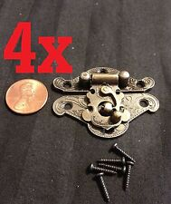 4x gold latch Hinge small mini doll house Antique Carved wood box b23