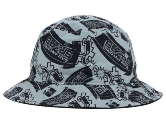 San Antonio Spurs 47 Brand NBA Charcoal Black Bravado Bucket Beach Sun Hat  L XL 9ca31fa72a0