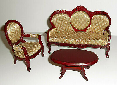 Dolls House 1//12th Paio di tende di velluto rosso SU PALO IN PINO rimovibile /& Cuscini