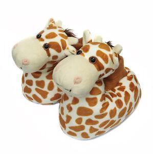 Fuzzy Winter Animal House Giraffe Dog Slippers For Toddler