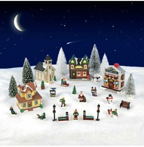 BONUS LED LIGHT SET Cobblestone Corners 28-Pieces Christmas Village Collection