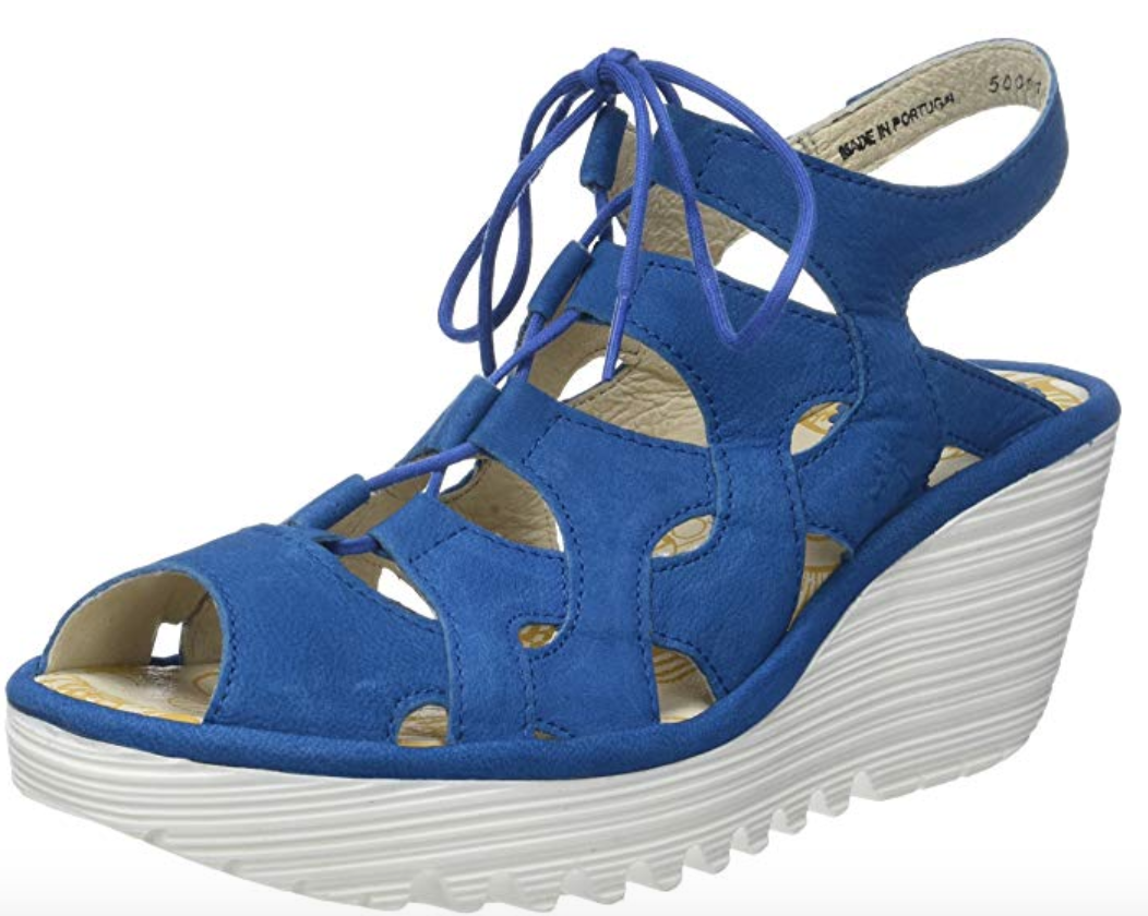 Fly London YEXA Electric blueE  Strappy Leather Wedge  Sandal US 8-8.5 EU 39