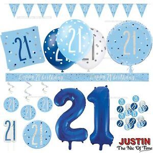 Blue 21st Birthday Party Decorations Supplies Boy Mens Balloons Banners Etc Ebay