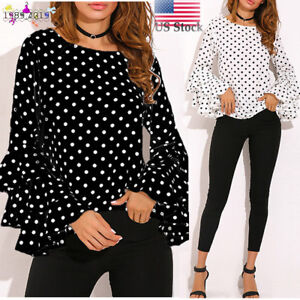 Women-039-s-Long-Bell-Flare-Sleeve-Loose-Polka-Dot-Shirt-Lady-Casual-Blouse-Tops-US
