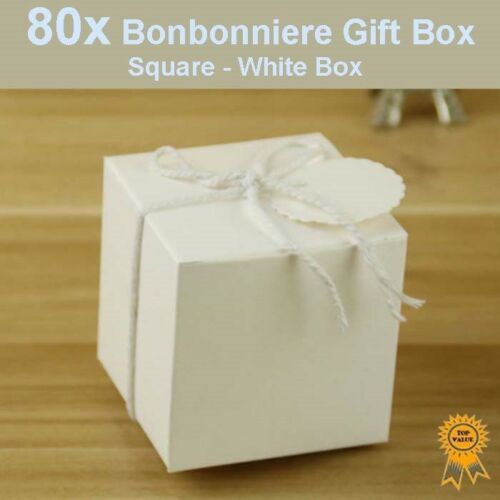 80x Bonbonniere Bomboniere Candy Gift Boxes White Box 50x50x50mm