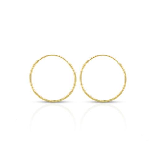 14k or jaune pour femme Diamond Cut Endless Hoop Boucles d/'oreilles 0.8 mm épaisseur 10 mm 20 mm