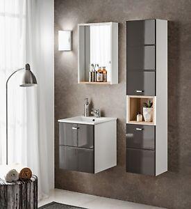 Badmoebel-Set-039-039-FINKA-40CM-GRAU-034-Waschbecken-Hochglanz-montiert-schneller-Versand