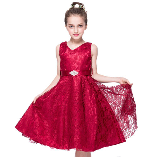 Girl Kid Sequins Bridesmaid Dress Lace Tulle Party Princess Prom Wedding Dresses