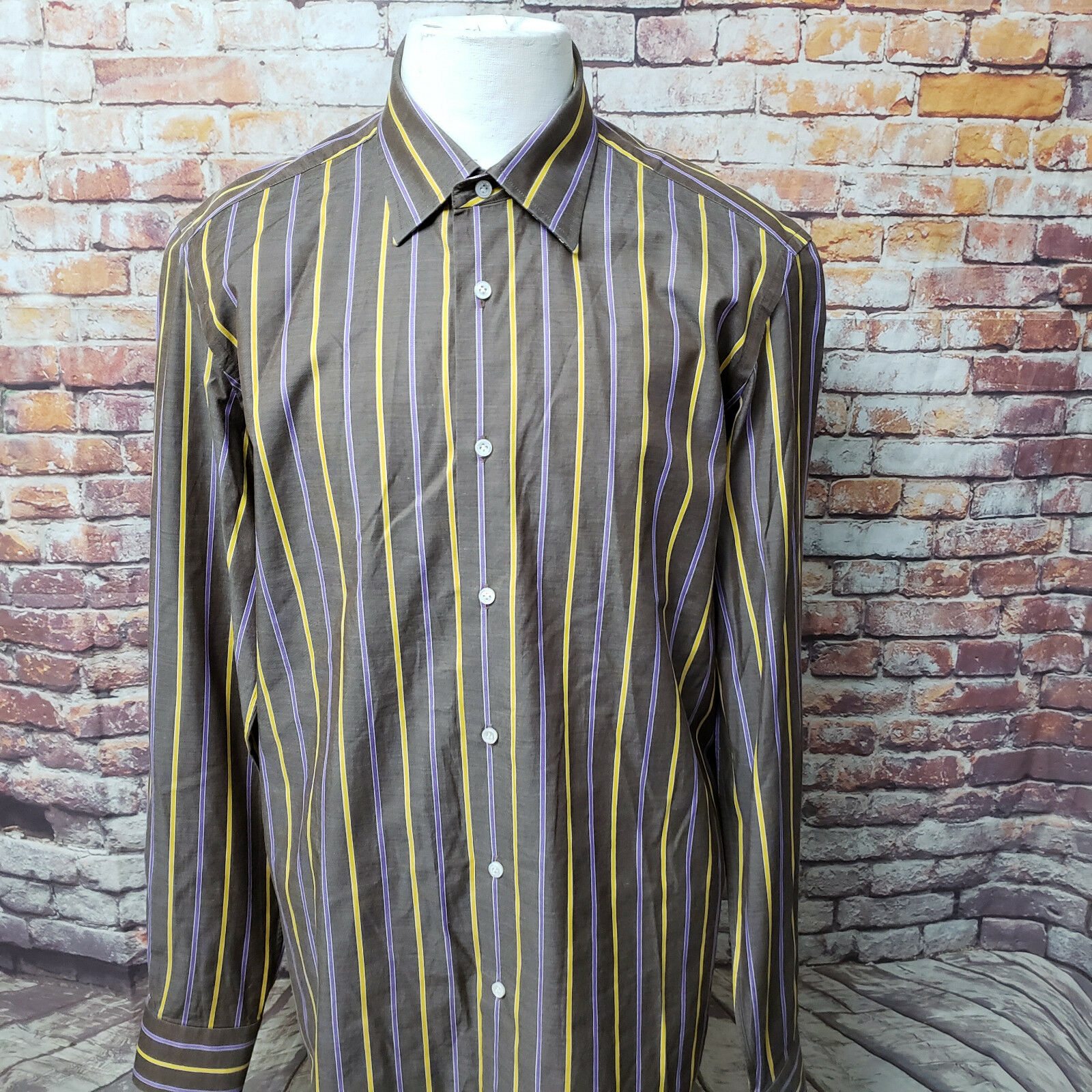 LUCIANO BARBERA STRIPED COTTON LONG SLEEVE CASUAL SHIRT SIZE L A90-18