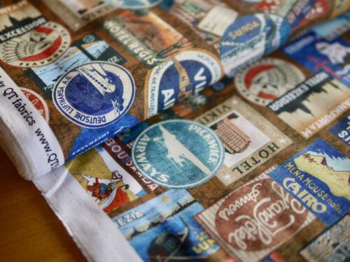 sustancia maleta escudo Quilting Treasures patchwork tela viajes de toalla