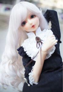 "6-7/"" 1//6 BJD White Curly Wavy Long Wig LUTS Doll SD DZ DOD MSD Hair Soom Volks L"