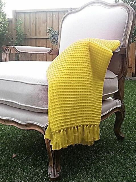 Waffle Weave Throw Rugs Soft Sunshine Yellow 100% Cotton