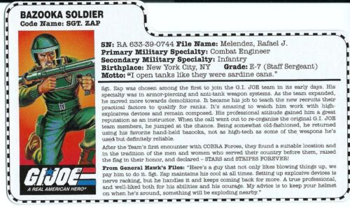 Zap V1 G I JOE File Card Filecard       1997 Stars And Stripes   Sgt