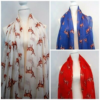 Gold Stag Scarf Ladies  Highland Stags Wrap Christmas Foil Reindeer 3 Colours