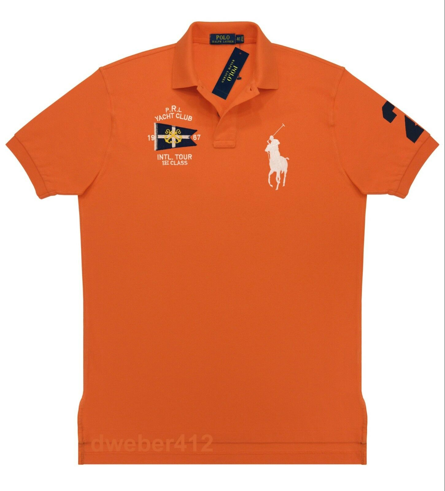 Men Ralph Lauren BIG & TALL BIG PONY Nautical Yacht Club orange Rugby Polo Shirt