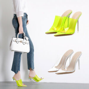 Women-Stiletto-Slip-On-Peep-Toe-Slingback-Sandals-Clear-Evening-Shoes-High-Heels
