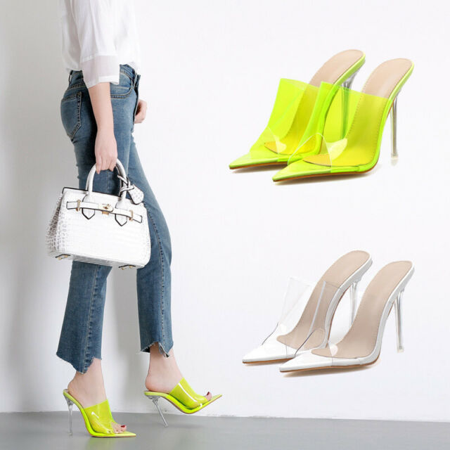 Women Stiletto Slip On Peep Toe Slingback Sandals Clear Evening Shoes High Heels