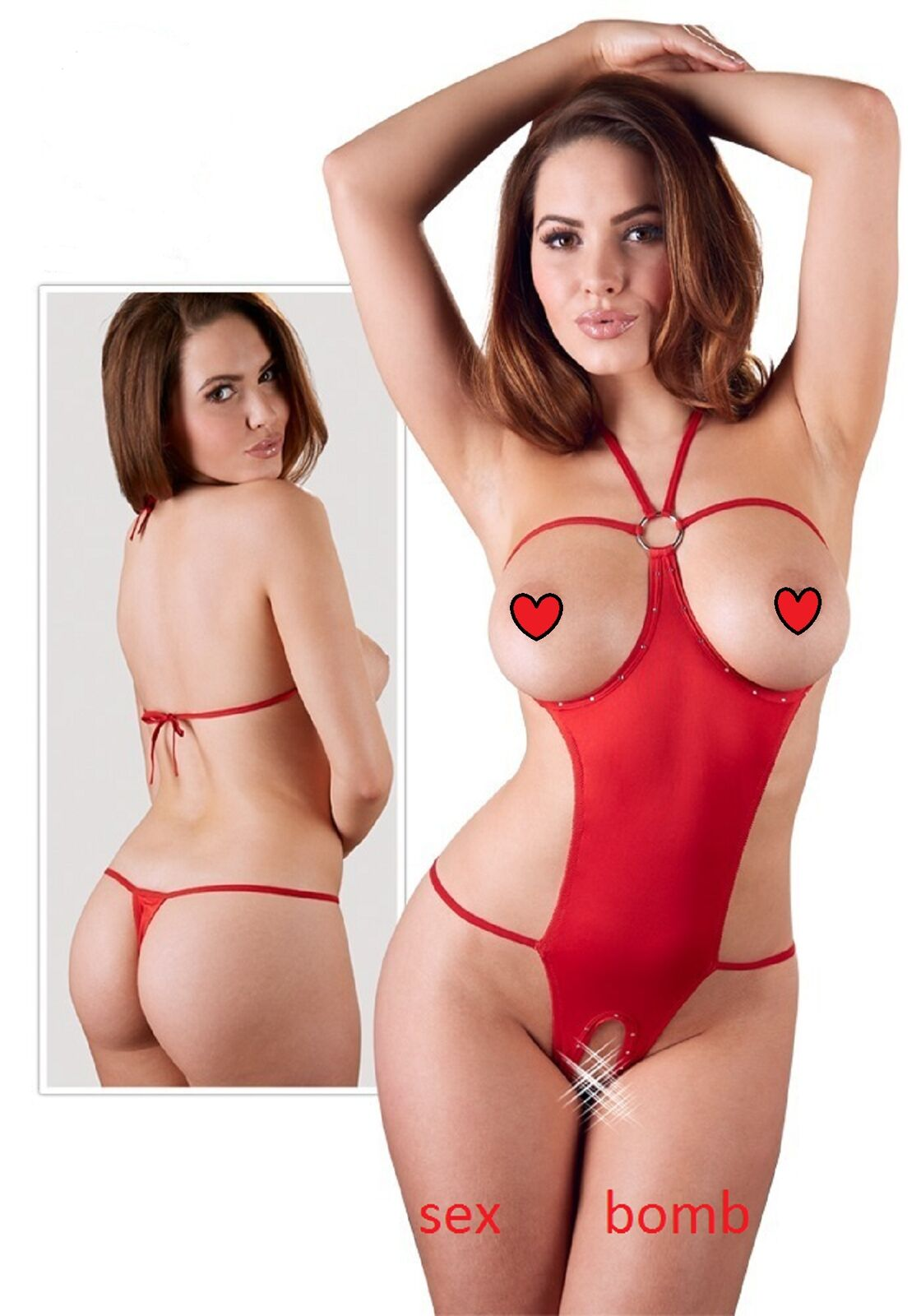 SEXY body red aperto STRASS seno scoperto intimo LINGERIE fashion GLAMOUR