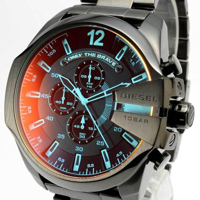 NEW DIESEL DZ4318 Mega Chief Mens Watch Chronograph Black Stainless Steel DZ4318