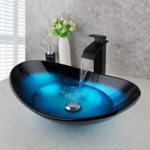 Monobloc Tempered Glass Bathroom Sink Water Tap Set Basin Waterfall Black Faucet Ebay