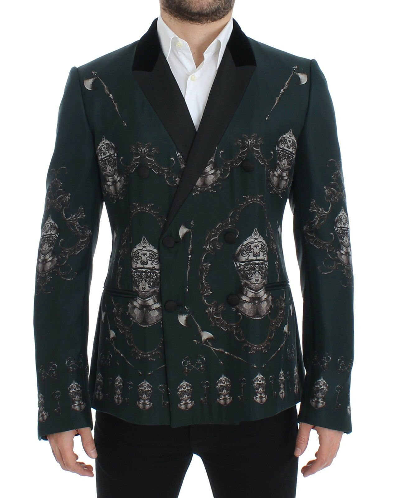 Nuovo Dolce & Gabbana Giacca Verde Seta Cavaliere Slim Giacca IT48/US38/M