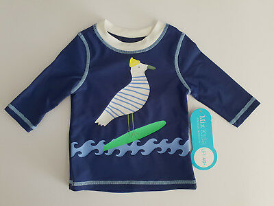 BNWT Boys Sz 000 Mix Brand Blue Seagull Print Long Sleeve Rash Vest UPF40+