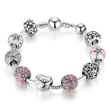 20cm DIY European Love 925 Silver Pink Enamel & Crystal Charm Clasp Bracelet