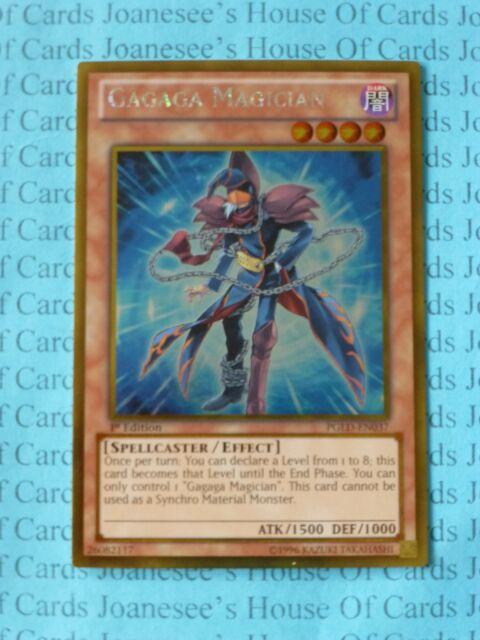 Gagaga Magician PGLD-EN037 Gold Rare Yu-Gi-Oh Card 1st Edition New