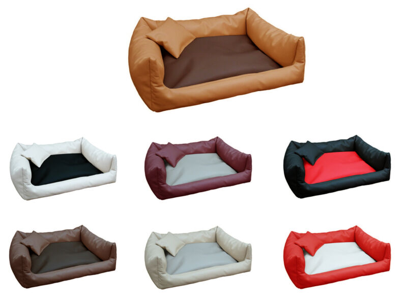 REX aus Kunstleder Hundebett Schlafplatz Hundekissen Korb + Kissen Größen  S-XXL