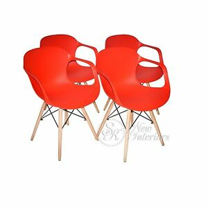 Red Plastic Molded Dining Armchairs Modern with Natural Wood Legs Set of 4