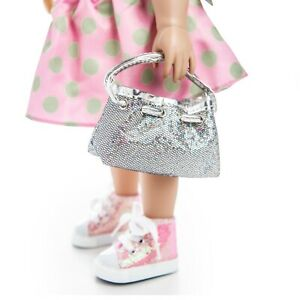 18-Inch-Doll-Silver-Hobo-Hand-Bag-Fits-American-Girl-Doll-Clothes-amp-Accessories