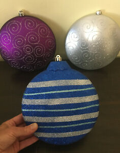 "3 Extra large 8"" Christmas Tree Plastic Glitter Ornaments ..."