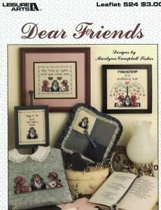Dear-FRIENDS-Leaflet-524-Leisure-Arts-Counted-Cross-Stitch-Designs-Patterns