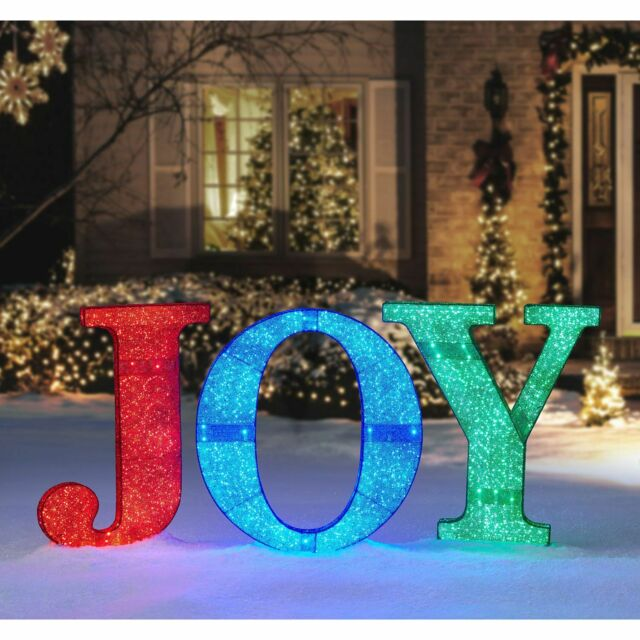 Led Lighted Twinkling Crystal Beaded Joy Sign Outdoor Yard Christmas Decoration For Sale Online Ebay
