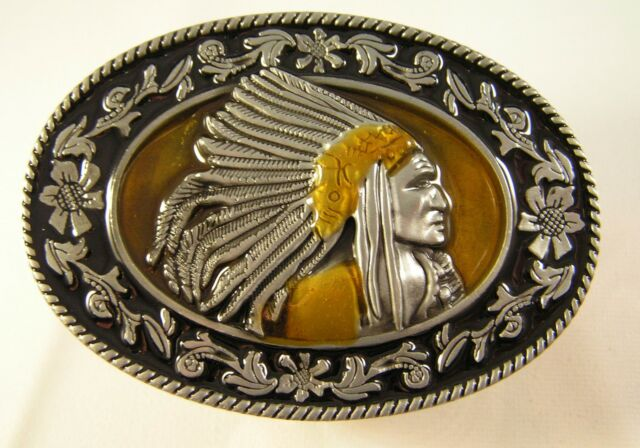 Native American Indian Chief Head with Feather Headdress Floral Edge Belt Buckle