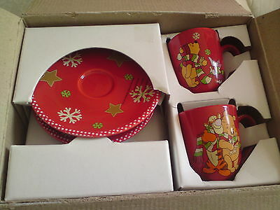 Disney Store Exclusive Winnie The Pooh Christmas Espresso Cups and saucers x 2.