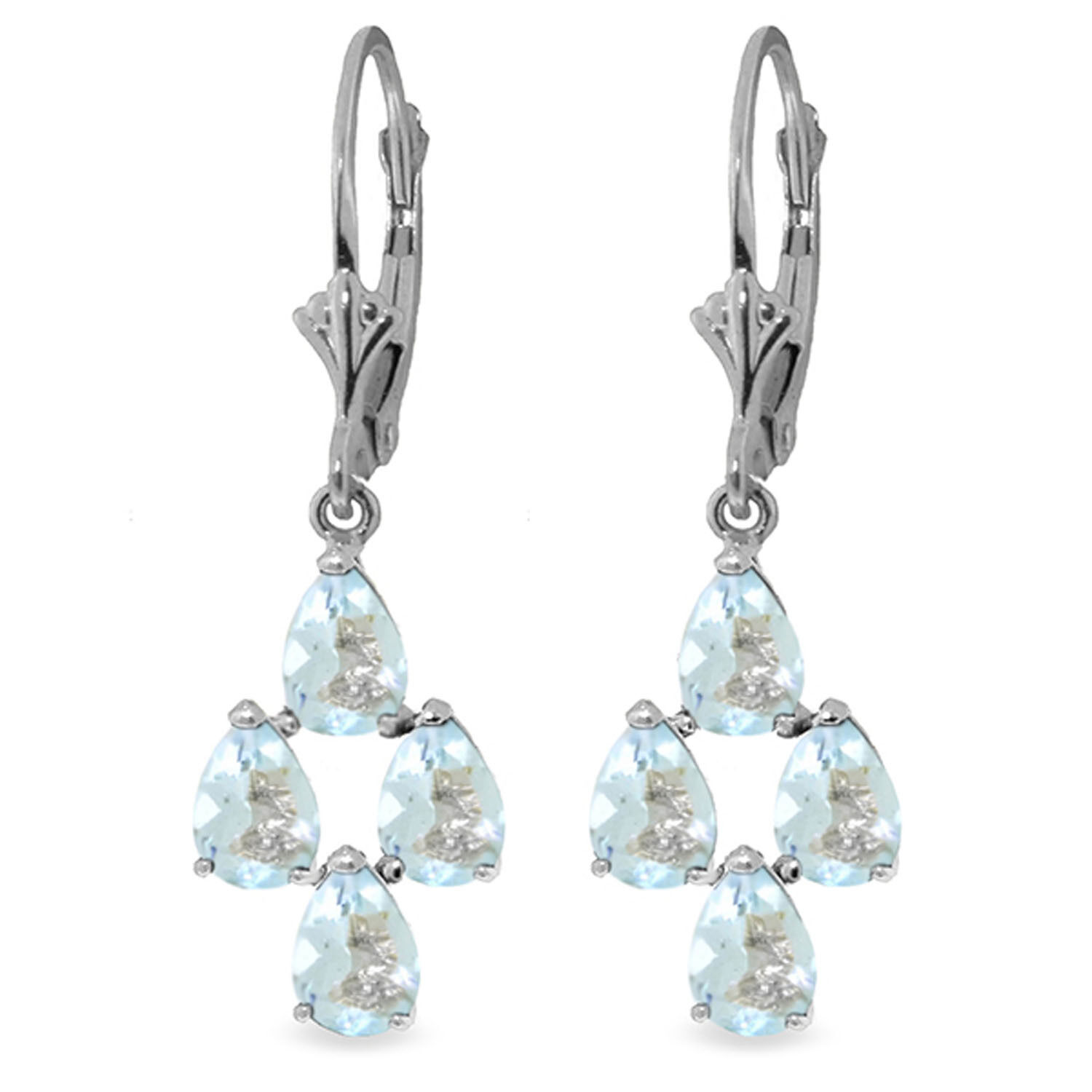 3.9 CTW 14K Solid White gold Attain Goodness Aquamarine Earrings