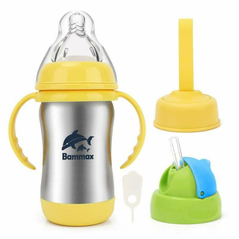 Bammax Sippy Cup Straw Trainer Cup with Soft Silicon Spout Stainless Steel Baby