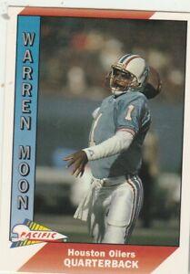 FREE-SHIPPING-MINT-1991-Pacific-181-Warren-Moon-Houston-Oilers-PLUS-BONUS-CARDS