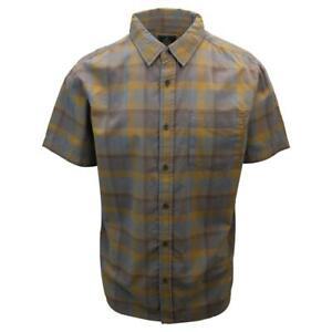 prAna Men's Brown Grey Gold Box Plaid Benton S/S Woven Shirt S06