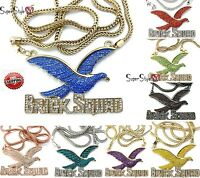 Crystal Brick Squad Bird Eagle Wings Hip Hop Iced Out Pendant 36 Franco Chain
